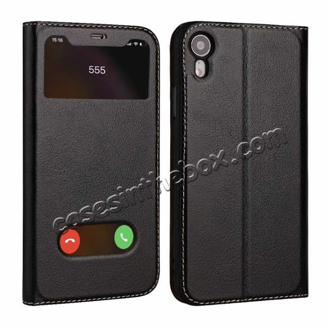 wholesale Luxury Double Window Genuine Leather Flip Case for iPhone XR - Black