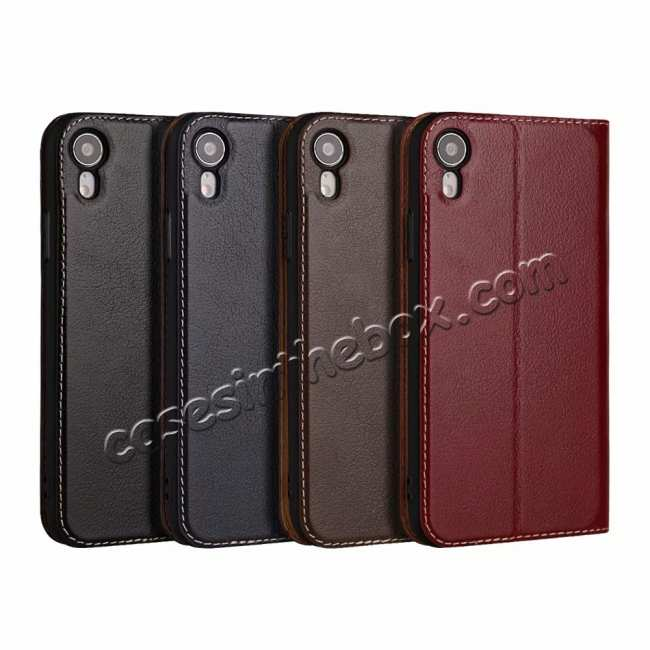 best price Luxury Double Window Genuine Leather Flip Case for iPhone XR - Wine Red