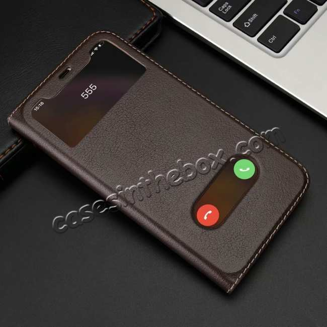 discount Luxury Double Window Genuine Leather Flip Case for iPhone XR - Brown