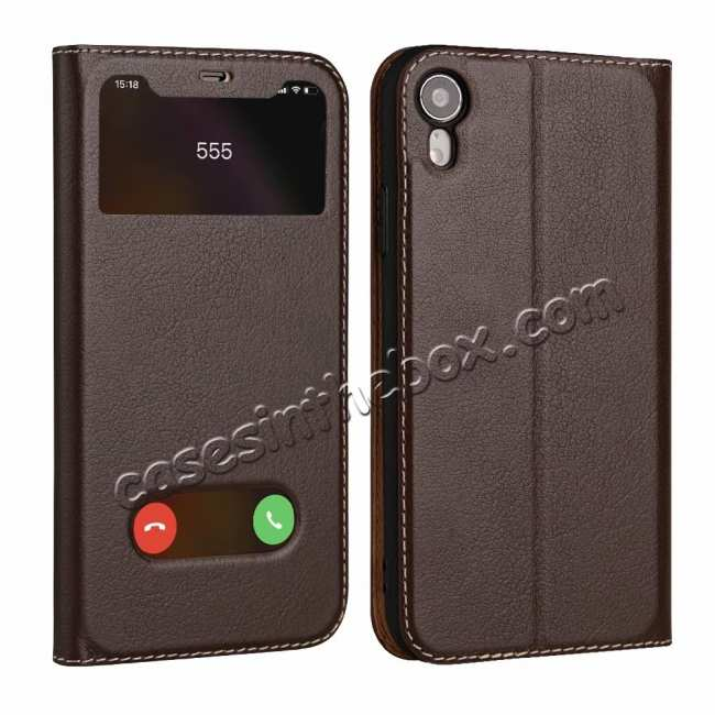 wholesale Luxury Double Window Genuine Leather Flip Case for iPhone XR - Brown