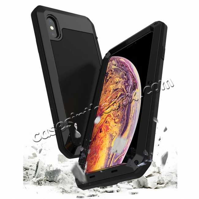 wholesale Shockproof Aluminum Alloy Temepred Glass Case for iPhone 7/7 Plus/8/8 Plus/X/XS/XR/XS Max