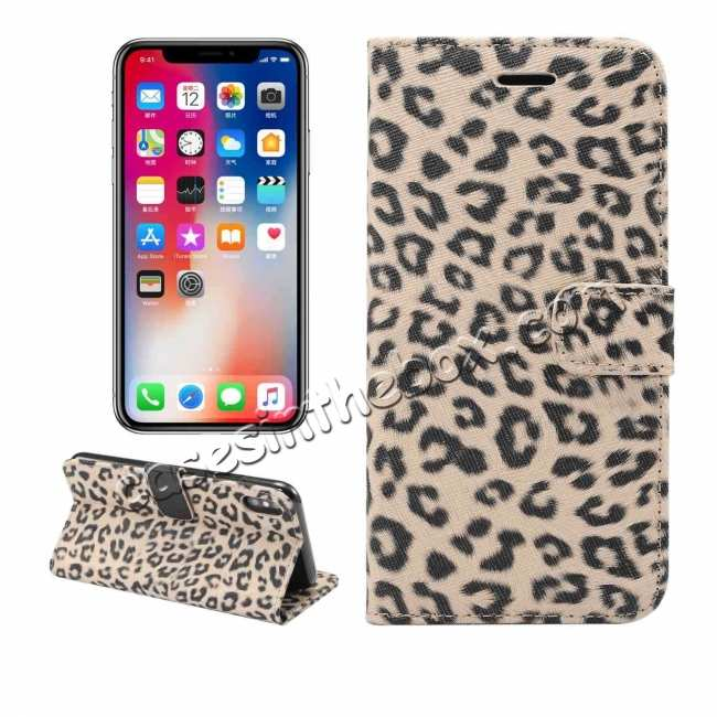 best price Leopard Pattern Wallet Flip Stand Leather Case  For iPhone XR