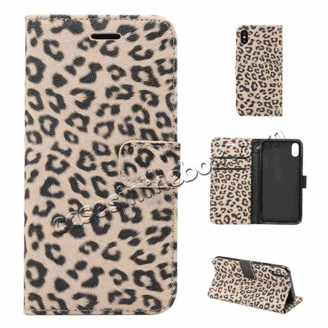 cheap Leopard Pattern Wallet Flip Stand Leather Case  For iPhone XR
