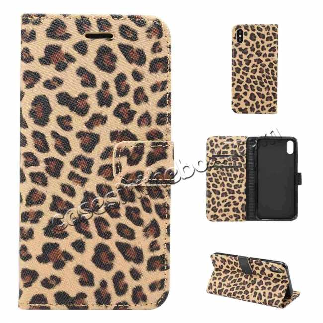 discount Leopard Pattern Wallet Flip Stand Leather Case  For iPhone XR
