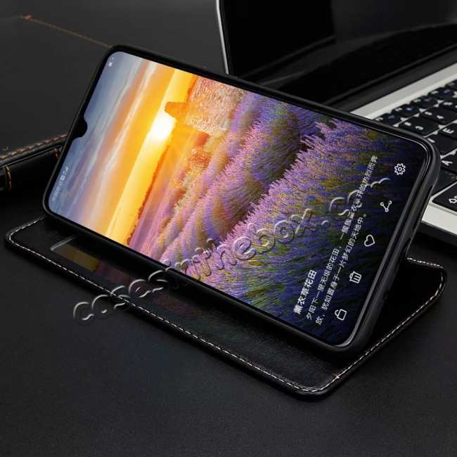 discount Magnetic Smart Window View Genuine Leather Case for Huawei Mate 20
