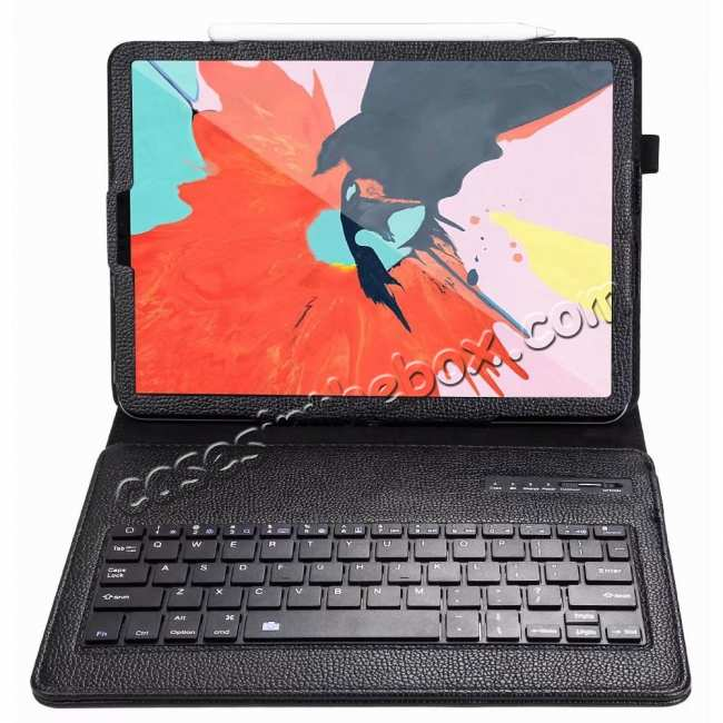 top quality Detachable Wireless Bluetooth Keyboard Stand Leather Case For iPad Pro 11-inch - Black