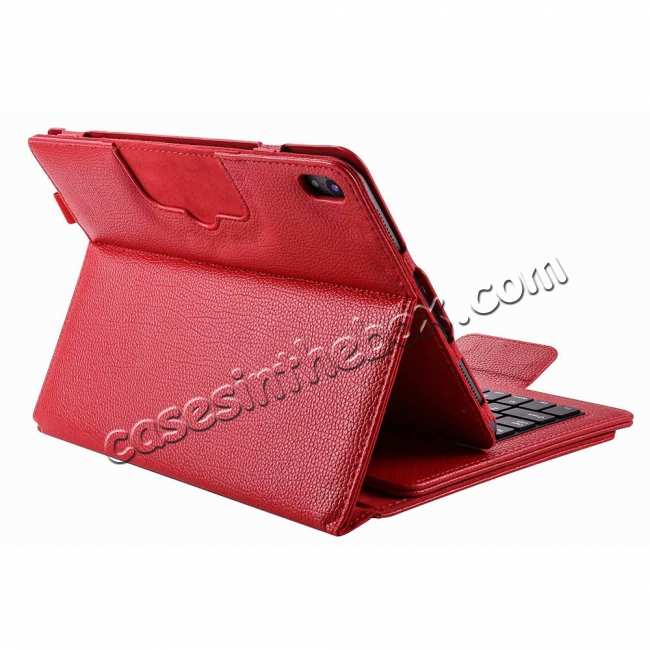 top quality Detachable Wireless Bluetooth Keyboard Stand Leather Case For iPad Pro 11-inch - Red