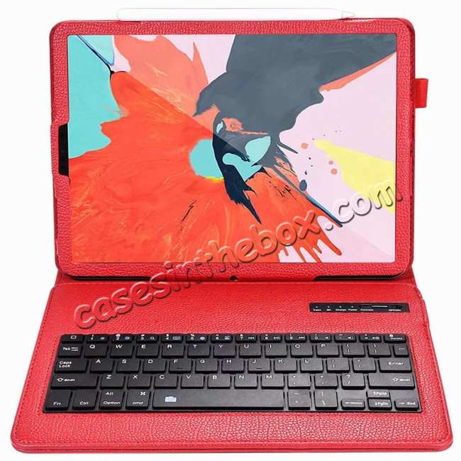 cheap Detachable Wireless Bluetooth Keyboard Stand Leather Case For iPad Pro 11-inch - Red