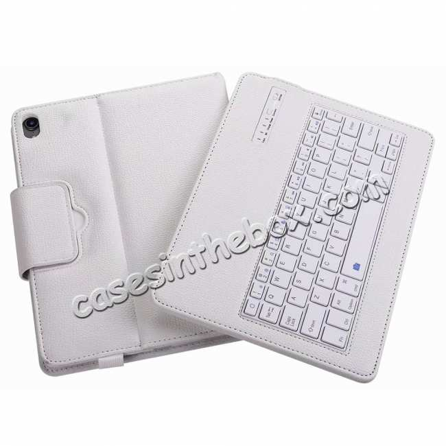 top quality Detachable Wireless Bluetooth Keyboard Stand Leather Case For iPad pro 11-inch 2020- White