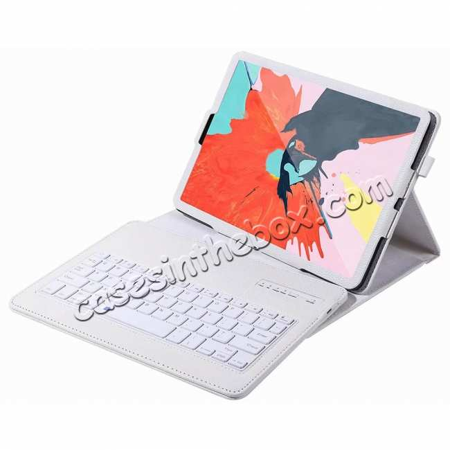 wholesale Detachable Wireless Bluetooth Keyboard Stand Leather Case For iPad pro 11-inch 2020- White