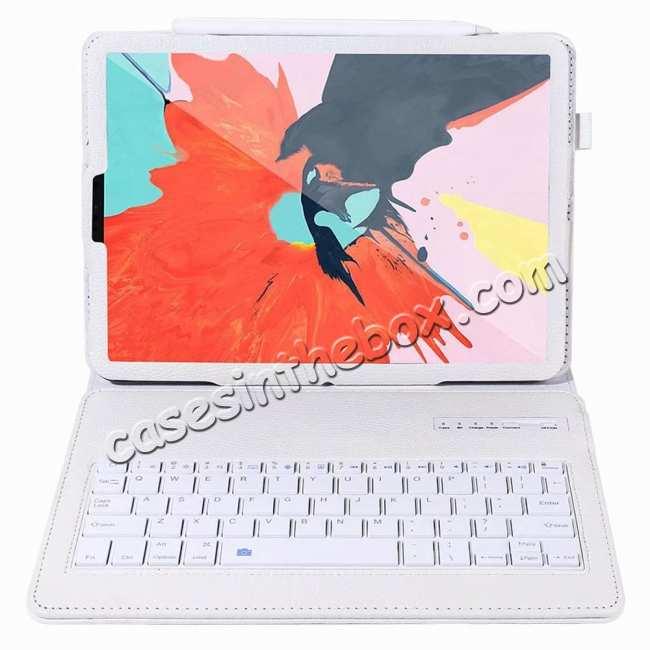 discount Detachable Wireless Bluetooth Keyboard Stand Leather Case For iPad pro 11-inch 2020- White