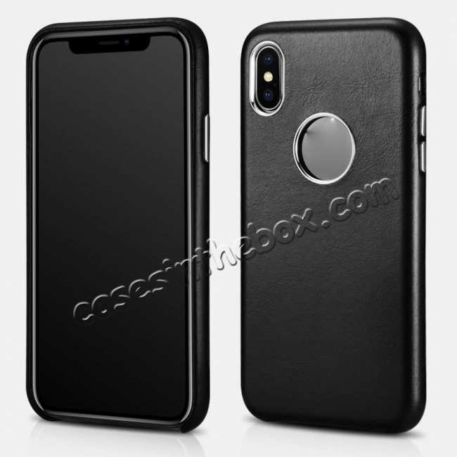 discount ICARER Retro Genuine Leather Back Case Cover for iPhone XS Max XS X