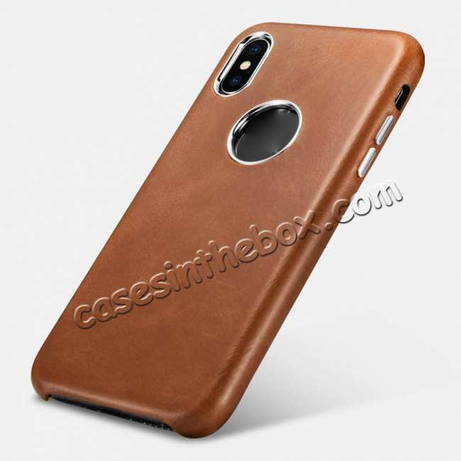 top quality ICARER Retro Genuine Leather Back Case Cover for iPhone XS Max XS X