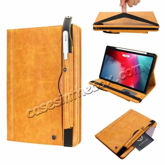wholesale Business Smart Sleep/Wake Stand Leather case For iPad pro 11-inch - Yellow