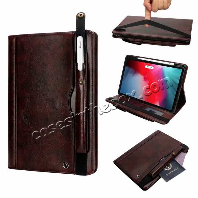 wholesale Business Smart Sleep/Wake Stand Leather case For iPad pro 11-inch - Dark Brown