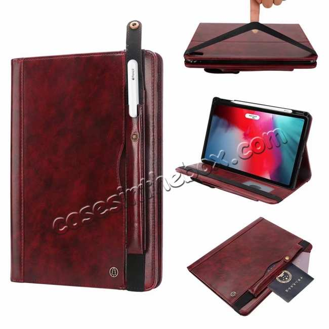 wholesale Business Smart Sleep/Wake Stand Leather case For iPad pro 11-inch - Wine Red