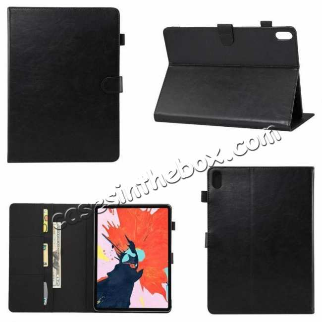 best price Crazy Horse Leather Flip Stand Case for iPad Pro 2018 12.9/11