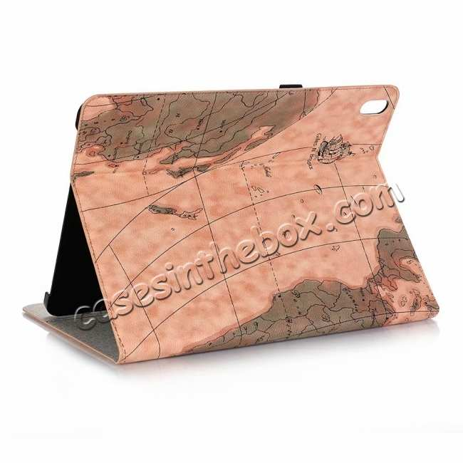 wholesale Map Smart Leather Case for iPad Pro 12.9 2018 - Light Brown