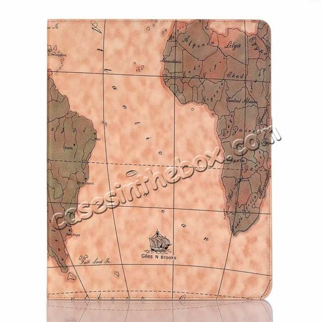top quality Map Smart Leather Case for iPad Pro 12.9 2018 - Light Brown