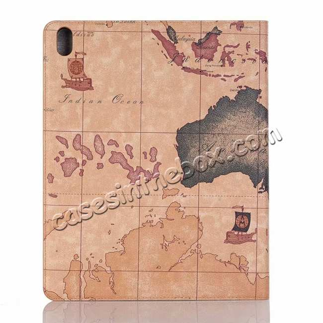top quality Map Smart Leather Case for iPad Pro 12.9 2018 - Brown