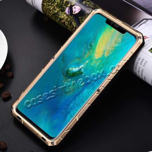 discount Shockproof Aluminum Metal Kickstand Case for Huawei Mate 20 Pro - Gold