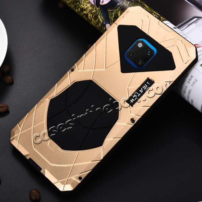 cheap Shockproof Aluminum Metal Kickstand Case for Huawei Mate 20 Pro - Gold