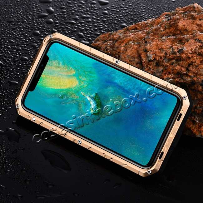 best price Shockproof Aluminum Metal Kickstand Case for Huawei Mate 20 Pro - Gold