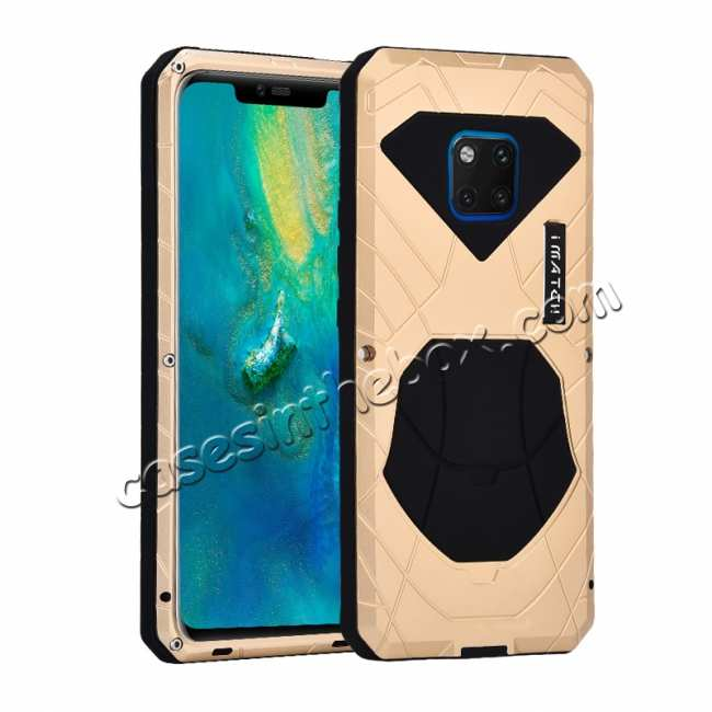 wholesale Shockproof Aluminum Metal Kickstand Case for Huawei Mate 20 Pro - Gold