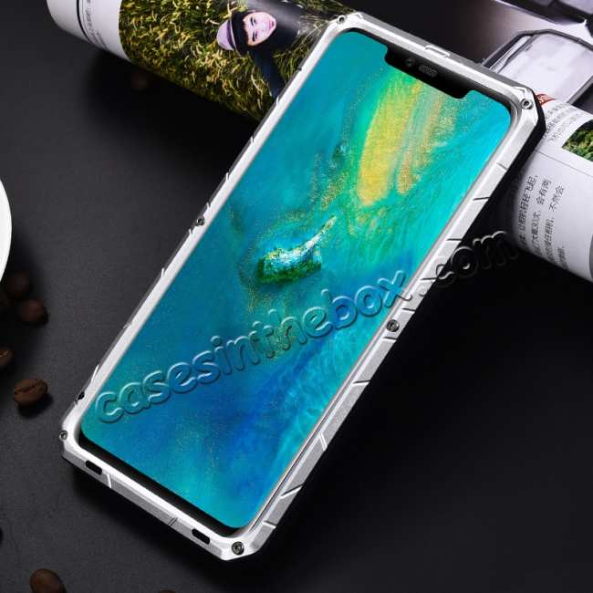 discount Shockproof Aluminum Metal Kickstand Case for Huawei Mate 20 Pro - Silver