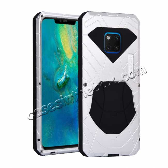 wholesale Shockproof Aluminum Metal Kickstand Case for Huawei Mate 20 Pro - Silver