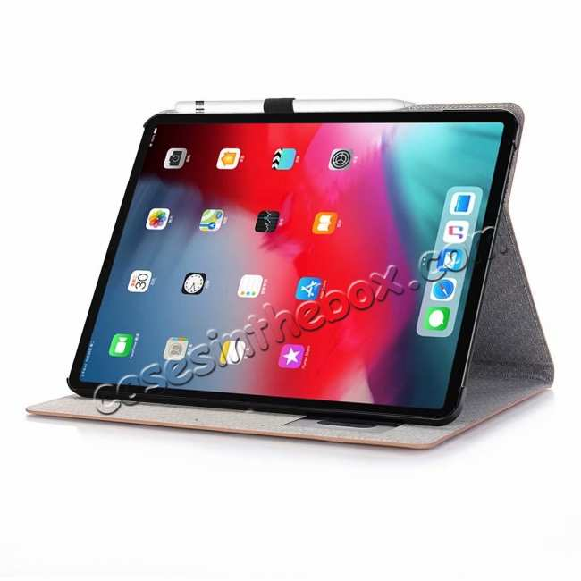 discount Cross Pattern Stand Smart Leather Case for iPad Pro 12.9 2018  - Brown