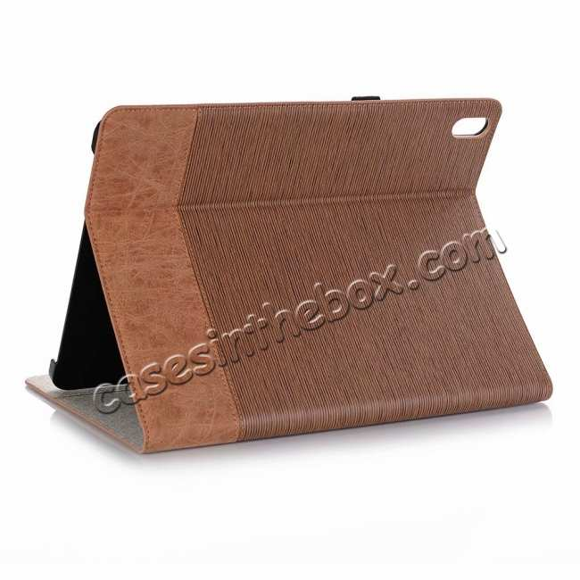 wholesale Cross Pattern Stand Smart Leather Case for iPad Pro 12.9 2018  - Brown