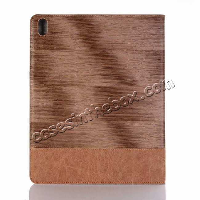 cheap Cross Pattern Stand Smart Leather Case for iPad Pro 12.9 2018  - Brown