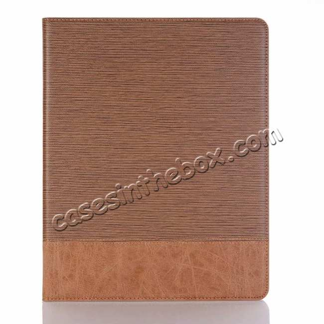 top quality Cross Pattern Stand Smart Leather Case for iPad Pro 12.9 2018  - Brown