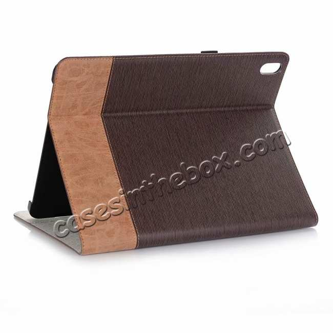 wholesale Cross Pattern Stand Smart Leather Case for iPad Pro 12.9 2018  - Coffee