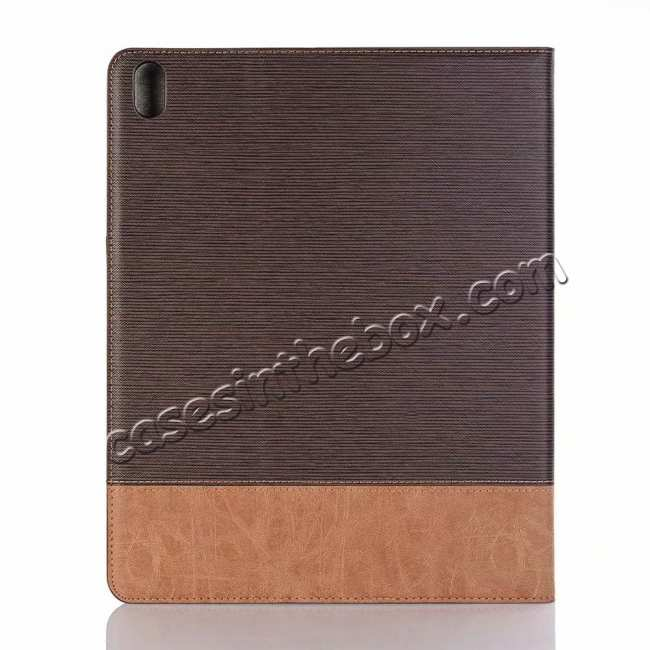 cheap Cross Pattern Stand Smart Leather Case for iPad Pro 12.9 2018  - Coffee