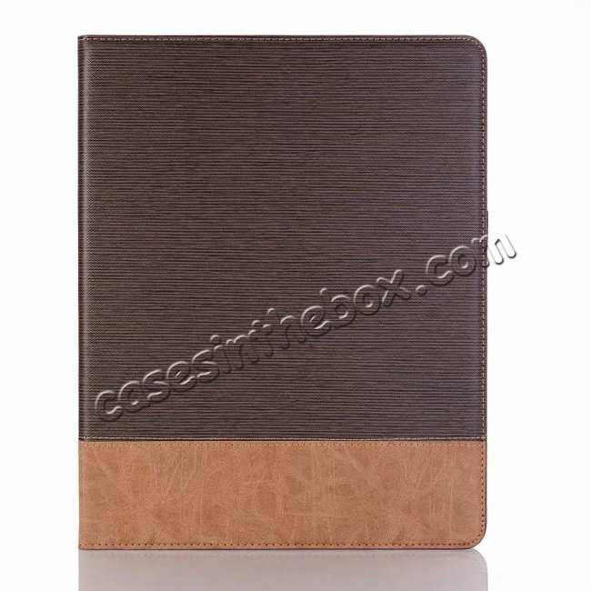top quality Cross Pattern Stand Smart Leather Case for iPad Pro 12.9 2018  - Coffee