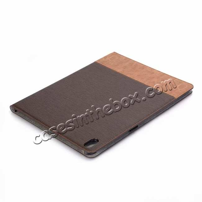 best price Cross Pattern Stand Smart Leather Case for iPad Pro 12.9 2018  - Coffee