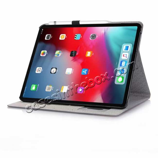 discount Cross Pattern Stand Smart Leather Case for iPad Pro 12.9 2018  - Grey