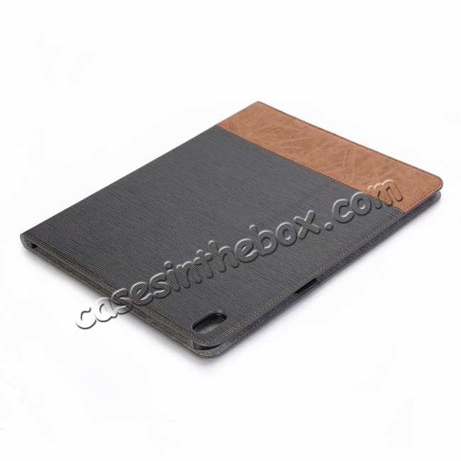 cheap Cross Pattern Stand Smart Leather Case for iPad Pro 12.9 2018  - Grey