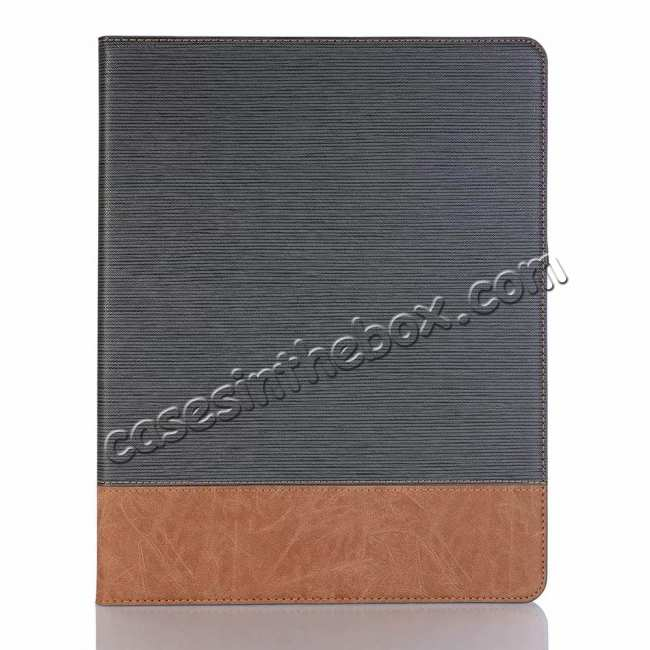best price Cross Pattern Stand Smart Leather Case for iPad Pro 12.9 2018  - Grey