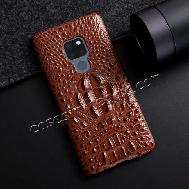 discount 3D Crocodile Head Grain Genuine Leather Back Case for Huawei Mate 20 Series