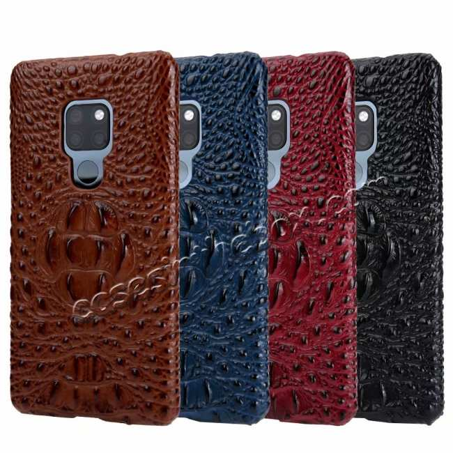wholesale 3D Crocodile Head Grain Genuine Leather Back Case for Huawei Mate 20 Series