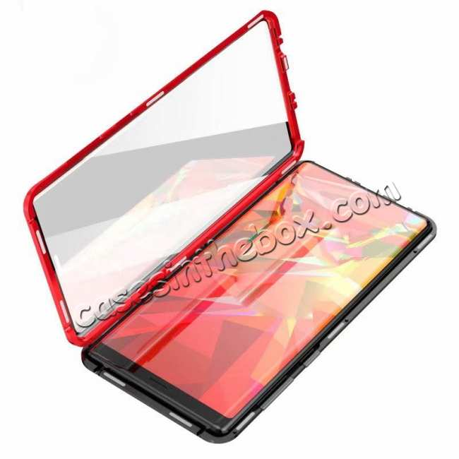 cheap For Samsung Galaxy Note 9 Full Protection Magnetic Aluminum Metal Tempered Glass Case