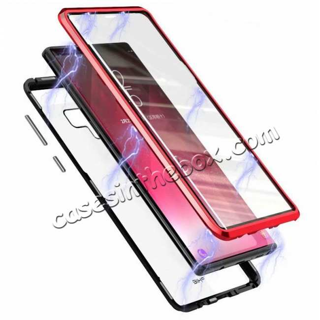 discount For Samsung Galaxy Note 9 Full Protection Magnetic Aluminum Metal Tempered Glass Case