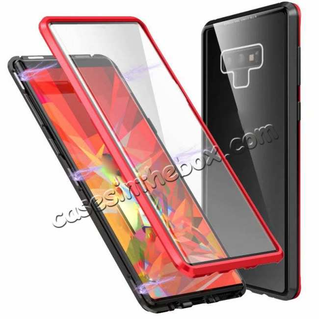 top quality For Samsung Galaxy Note 9 Full Protection Magnetic Aluminum Metal Tempered Glass Case
