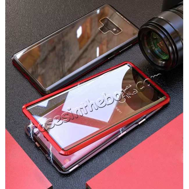 best price For Samsung Galaxy Note 9 Full Protection Magnetic Aluminum Metal Tempered Glass Case