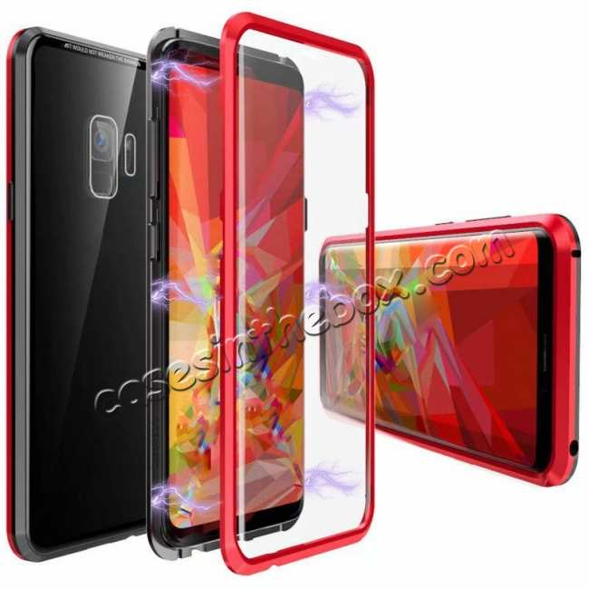 finest selection 32d30 b6a79 Magnetic Aluminum Tempered Glass 360° Case for Samsung Galaxy S9/S9 Plus