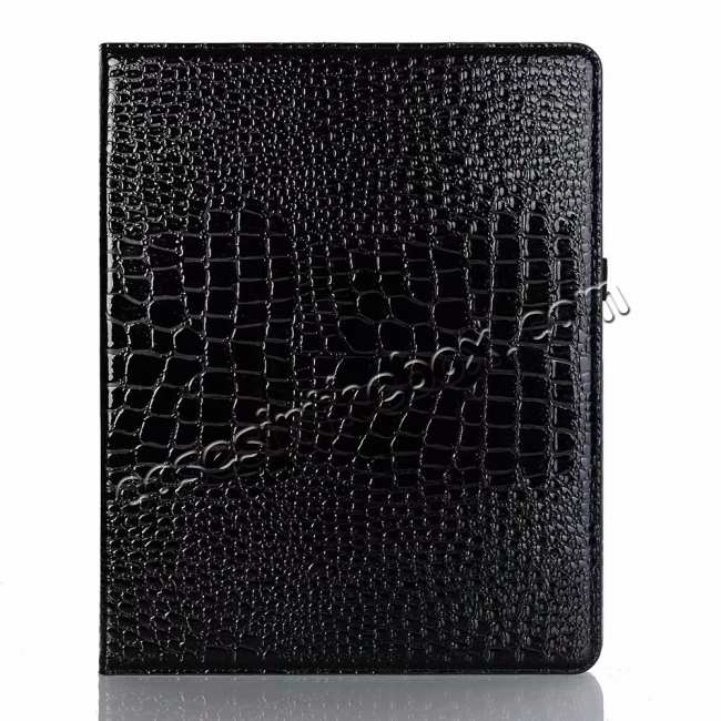 cheap Luxury Crocodile Pattern Stand Leather Case for iPad Pro 12.9 2018 - Black