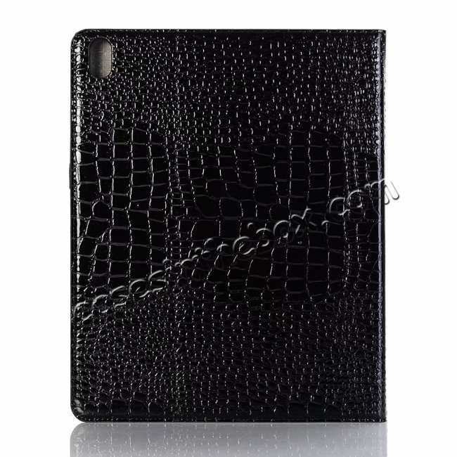 top quality Luxury Crocodile Pattern Stand Leather Case for iPad Pro 12.9 2018 - Black